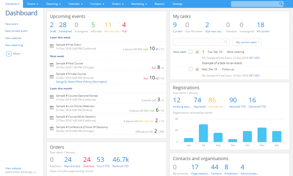 Arlo dashboard with real-time seminar and event information so you can see what's coming up.