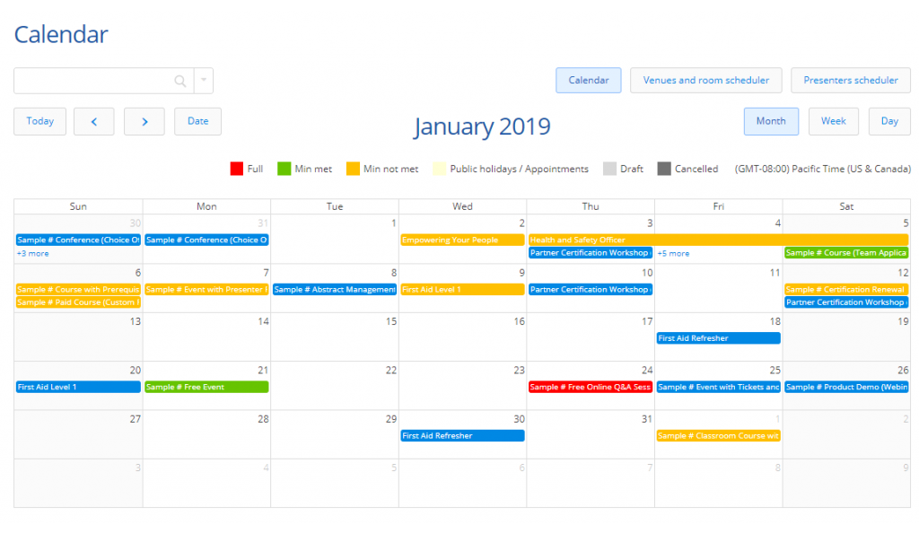 See all your workshops on one schedule calendar view.