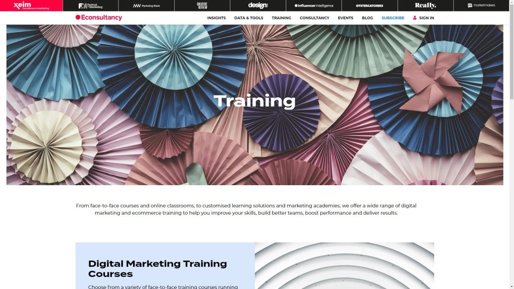 Econsultancy training page with courses