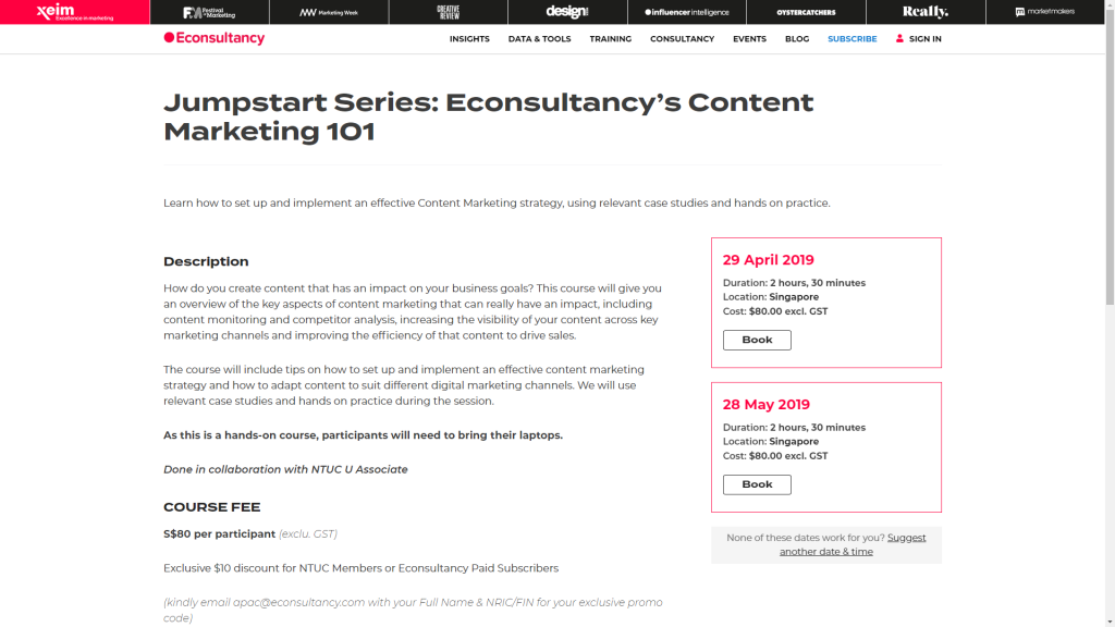 Econsultancy course page with booking ability