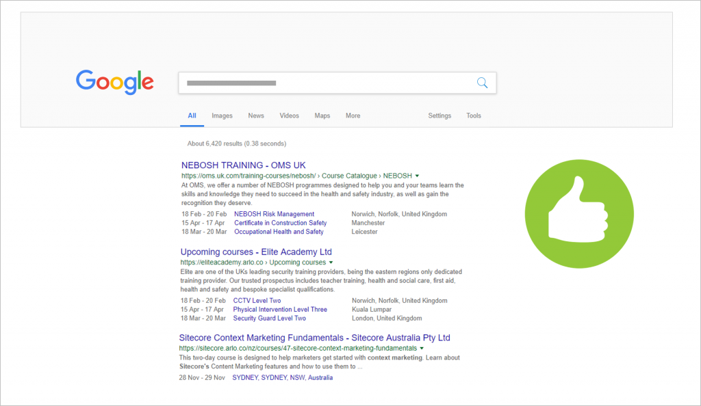 Example of good training website in Google SERP