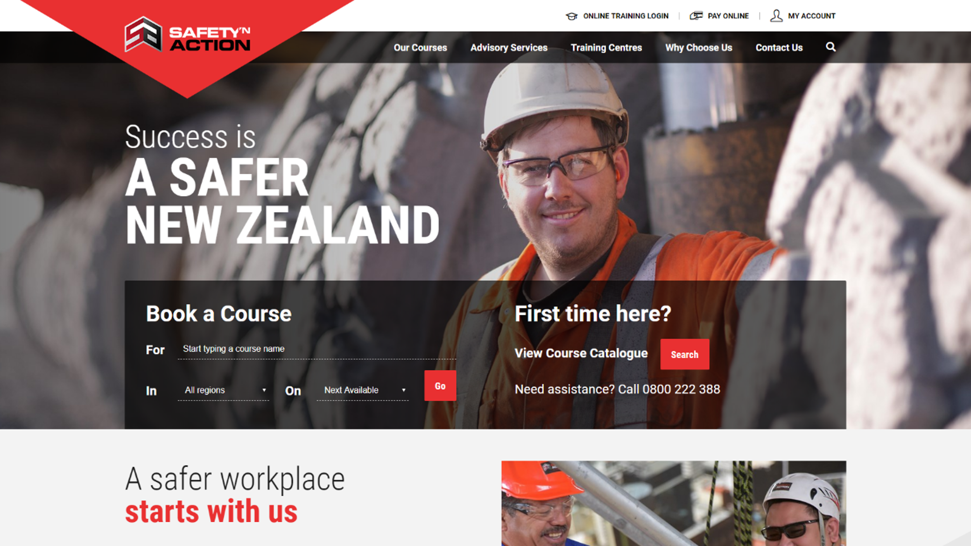 Safety 'N Action's training company website